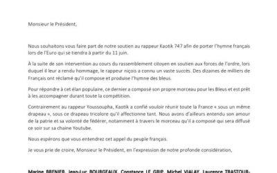 Soutien pour que le titre de Kaotik 747 devienne l'hymne français de l'Euro !